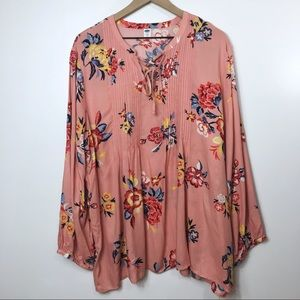 Old Navy Pink Pleated Floral Blouse, XXL